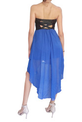 Strapless Dress with Solid Black Upper, and Blue Hi-Low Chiffon Lower.