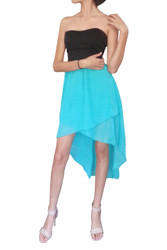 Strapless Dress with Solid Black Upper, and Mint Hi-Low Chiffon Lower.