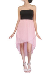 Strapless Dress with Solid Black Upper, and Blush Hi-Low Chiffon Lower.