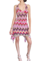 Halter Dress with Chevron Print, and Crossover Front. Purple.