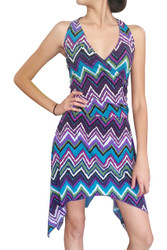 Halter Dress with Chevron Print, and Crossover Front. Purple Multi Chevrons.