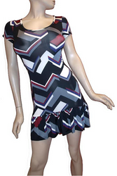 Black Geo Chevron Dress with Adorable Peplum Trim!