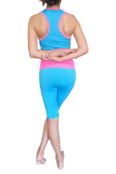 TWO PIECE JOGGERS SET! Get Both Tank Top & Shorts for One Low Price! Blue with Fuchsia Trim.