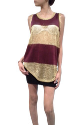 Sleeveless Mesh Top with Keyhole Back is Lightweight & Cool! Gold & Burgundy Stripes.