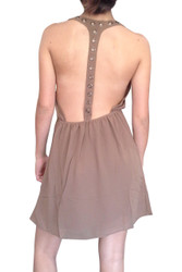 Halter Dress with Metal Grommets. Look at that Back! Chocolate Brown.