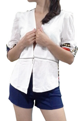 Lightweight Blazer with Sheer 1/2 Sleeve and Printed Back! Ivory White with Red & Blue Printed Back.