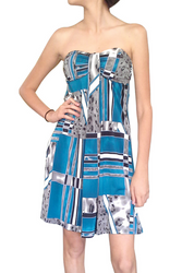 Blue & Grey Silky Summer Strapless Dress!