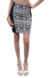 Pencil Skirt with Zipper Back from FELINE! Black with White Tribal.