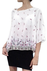 JUNIORS PLUS SIZE Top with KeyHole Back! Ivory White with Paisley.