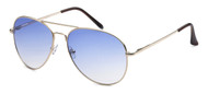 HIGH QUALITY UV400 PROTECTION! THESE SUNGLASSES ARE CLASSIC AVIATORS! GOLD FRAMES, LIGHT BLUE LENS.