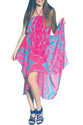 ONE SIZE MAXI HALTER DRESS IS PINK WITH TEAL! ONE SIZE (Up to Size 18).