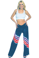 ONE SIZE PALAZZO PANTS WITH RED, WHITE & BLUE TIE DYE STRIPES! 95% Rayon. (One-Size Up to Size 18)