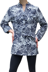 Navy Blue & White Floral Button Down Tunic Top Is Belted And Has Chest Pockets. 50% Rayon.