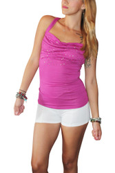 Pink Tri-Blend Tank Top with Stones on Chest & Braided Back!