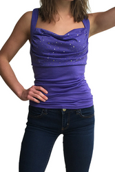 Purple Tri-Blend Tank Top with Stones on Chest & Braided Back!