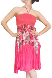 ONE SIZE RED SLEEVELESS HALTER DRESS WITH BLUE & PINK PRINTED ACCENT ONE SIZE (Up to Size 18).