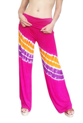 ONE SIZE PALAZZO PANTS ARE FUCHSIA WITH TIE DYE STRIPES! 95% Rayon. (One-Size Up to Size 18)