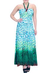 Teal Animal Print Maxi Halter Dress!