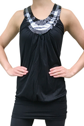 Black Sleeveless Tank Dress has Sequined Neckline and Cutout Back!