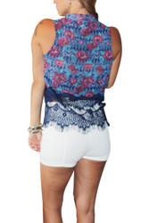 Sleeveless Button Down with Lace! Blue Tribal Floral.