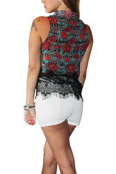 Sleeveless Button Down with Lace! BLack Floral.