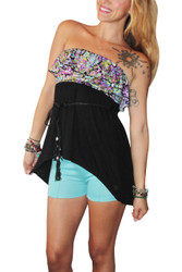 Strapless Belted Top With Ruffle Is Black With Purple! 95% Rayon.