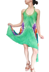 ONE SIZE TIE DYE BOHO-CHIC DRESS! GREEN WITH PURPLE. ONE SIZE (Up to Size 18).