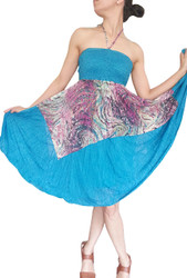 ONE SIZE TEAL SLEEVELESS HALTER DRESS WITH RED & TEAL PRINTED ACCENT ONE SIZE (Up to Size 18).