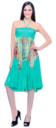 ONE SIZE GREEN SLEEVELESS HALTER DRESS! PRINTED MIDSECTION! ONE SIZE (Up to Size 18).