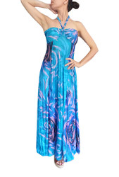 BEAUTIFUL PAISLEY MAXI DRESS! STRAPLESS OR HALTER. BLUE DESIGN.