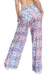 ONE SIZE CUTOUT PATTERN PALAZZO PANTS! BLUE. (One-Size Up to Size 18)