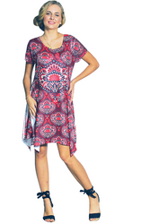 ONE SIZE SILKY SUBLIMATION PRINT DRESS WITH LACE SLEEVES! ONE SIZE (Up to Size 18).