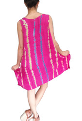 ONE SIZE BOHO-CHIC SUMMER DRESS! PINK WITH TIE DYE STRIPES. ONE SIZE (Up to Size 18).