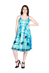 ONE SIZE TIE DYE BOHO-CHIC BLUE STRIPED SUMMER DRESS! ONE SIZE (Up to Size 18).