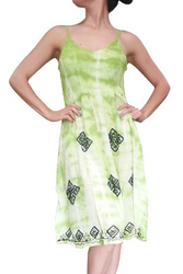 ONE SIZE TIE DYE BOHO-CHIC GREEN STRIPED SUMMER DRESS! ONE SIZE (Up to Size 18).