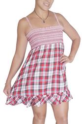 100% Cotton Sleeveless Peasant Dresss with Ruffle Hem! Red Plaid.
