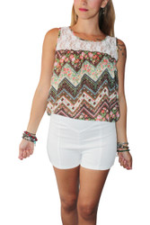 Floral & Chevron Sleeveless Top With Lace Shoulders. Brown/White. Rue 21.