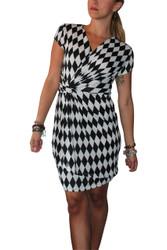 V-Neck Checkered Geo Black & White Dress.
