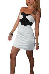 Strapless White Dress with Black Flower (Optional Straps). 50% Cotton.