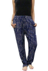 FADED GLORY! 100% Rayon Striped Palazzo Pants Tie At The Waist. Navy/White.