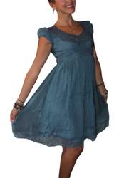 Vintage Crochet Dress Screams Boho-Chic! Blue.