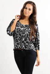 Tunic Top with Half Boho-Chic Sleeves! Grey Leopard Print.