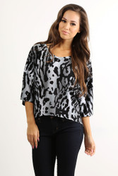 Tunic Top with Half Boho-Chic Sleeves! Grey Animal Geo Pattern.