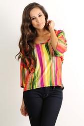 Tunic Top with Half Boho-Chic Sleeves! Pink & Multi Stripes.