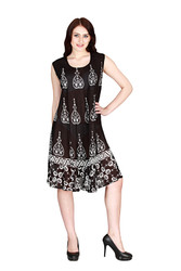 ONE SIZE BOHO COVERUP BATIK DRESS -  4 COLORS! ONE SIZE (Up to Size 18).