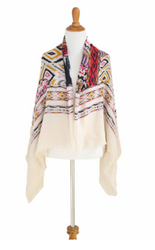 BOUTIQUE BLANKET SCARF CAN BE WORN AS A PONCHO OR CARDIGAN! EARTH TONE TRIBAL/AZTEC.