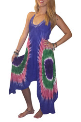ONE SIZE TIE DYE BOHO-CHIC DRESS! DEEP BLUE WITH TIE DYE. ONE SIZE (Up to Size 18).