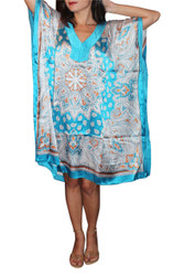 ONE SIZE KAFTAN DRESS (Up to Size 18). TURQUOISE & WHITE PAISLEY.
