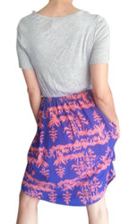 Grey Rayon Dress With Blue & Coral Asian Print Skirt!