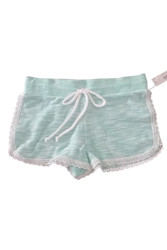 51% Cotton French Terry Shorts With Lace Trim. Mint.